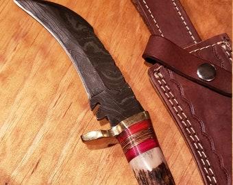 Hunting Knife Deer Antler Handle Damascus Karambit Stag Horn Outdoors (K685)