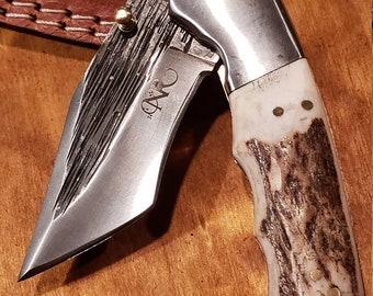 Folding Pocket Knife Deer Antler Stag Horn Hammered Steel Outdoors Tools (J17)