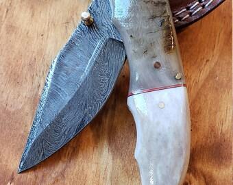 Folding Pocket Knife Deer Antler Stag & Ram Horn Damascus Outdoor Tools (K641)