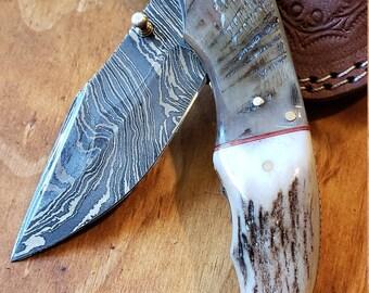 Folding Pocket Knife Deer Antler Stag & Ram Horn Damascus Outdoor Tools (K660)
