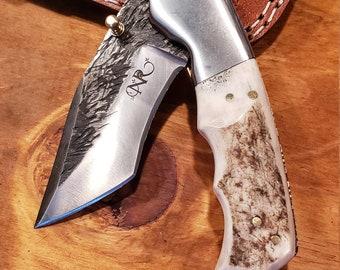 Folding Pocket Knife Deer Antler Stag Horn Hammered Steel Outdoors Tools (J12)
