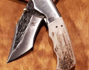 Folding Pocket Knife Deer Antler Stag Horn Hammered Steel Outdoors Tools (J15)