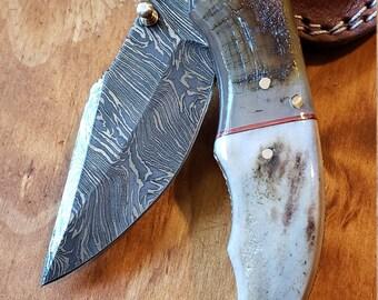 Folding Pocket Knife Deer Antler Stag & Ram Horn Damascus Outdoor Tools (K656)