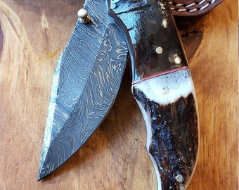 Folding Pocket Knife Deer Antler Stag & Ram Horn Damascus Outdoor Tools (K644)