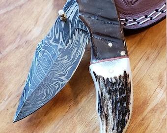 Folding Pocket Knife Deer Antler Stag & Ram Horn Damascus Outdoor Tools (K637)