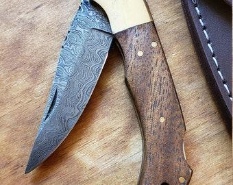 Walnut Wood Handle Folding Pocket Knife Damascus Blade Collection With Leather Sheath Outdoors (K667)