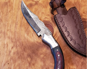Colored Pakka Wood Handle Hunting Knife Damascus Blade Leather Sheath Premium (K681)