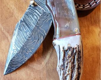 Folding Pocket Knife Deer Antler Stag & Ram Horn Damascus Outdoor Tools (K657)