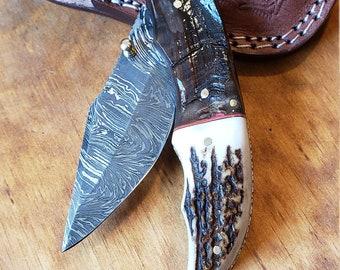Folding Pocket Knife Deer Antler Stag & Ram Horn Damascus Outdoor Tools (K648)