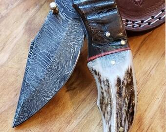 Folding Pocket Knife Deer Antler Stag & Ram Horn Damascus Outdoor Tools (K638)
