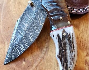 Folding Pocket Knife Deer Antler Stag & Ram Horn Damascus Outdoor Tools (K642)