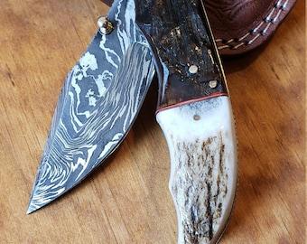 Folding Pocket Knife Deer Antler Stag & Ram Horn Damascus Outdoor Tools (K649)