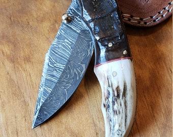 Folding Pocket Knife Deer Antler Stag & Ram Horn Damascus Outdoor Tools (K650)