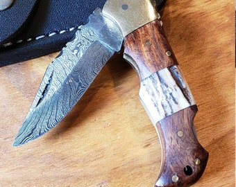 Deer Antler & Rose Wood Folding Pocket Knife Damascus Stag Horn Leather Sheath Premium Outdoors Tools (K680)