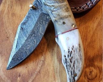 Folding Pocket Knife Deer Antler Stag & Ram Horn Damascus Outdoor Tools (K655)