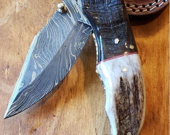Folding Pocket Knife Deer Antler Stag & Ram Horn Damascus Outdoor Tools (K661)