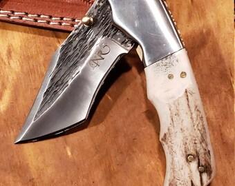 Folding Pocket Knife Deer Antler Stag Horn Hammered Steel Outdoors Tools (J14)
