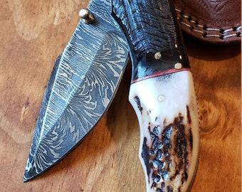 Folding Pocket Knife Deer Antler Stag & Ram Horn Damascus Outdoor Tools (K658)
