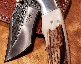 Folding Pocket Knife Deer Antler Stag Horn Hammered Steel Outdoors Tools (J18)