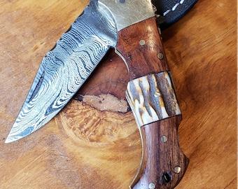 Deer Antler & Rose Wood Folding Pocket Knife Damascus Stag Horn Leather Sheath Premium Outdoors Tools (K679)