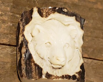 Real Deer Antler Carved Bear Pendant Necklace Tribal Stag Jewelry Rustic Hunting Nature Wild (N320)