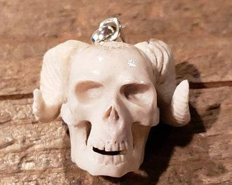 Deer Antler Carved Demon Skull Pendant Necklace Devil Stag Horn Jewelry Rustic Hunting Nature Wild (N687)