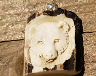 Real Deer Antler Carved Bear Pendant Necklace Tribal Stag Jewelry Rustic Hunting Nature Wild (N317)