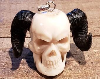Deer Antler Carved Demon Skull Pendant Necklace Devil Stag Horn Jewelry Rustic Hunting Nature (N728)