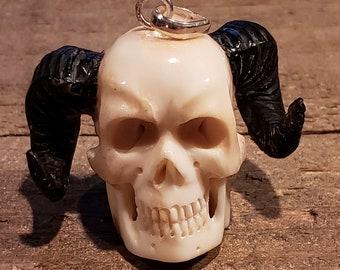 Deer Antler Carved Demon Skull Pendant Necklace Devil Stag Horn Jewelry Rustic Hunting Nature (N722)
