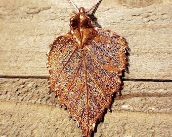Iridescent Copper Dipped Birch Leaf Necklace Pendant Nature Jewelry (N602)