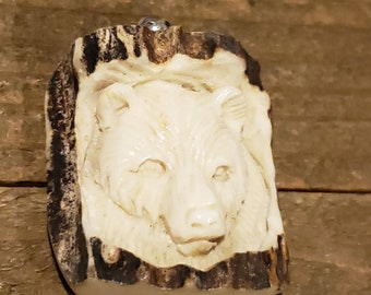 Real Deer Antler Carved Bear Pendant Necklace Tribal Stag Jewelry Rustic Hunting Nature Wild (N323)