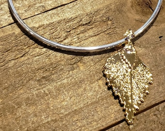 Gold Dipped Real Birch Leaf Bracelet Charm Pendant Nature Jewelry (B84)