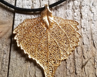 24k Gold Dipped Real Cottonwood Leaf Black Leather Necklace Pendant Outdoor Rustic Nature Earth Jewelry