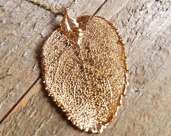 24k Gold Dipped Real Walnut Leaf Choker Necklace Pendant Outdoors Rustic Nature Earth Jewelry Boho Wild Fashion