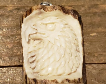 Real Deer Antler Carved Eagle Pendant Necklace Tribal Stag Jewelry Rustic Hunting Nature Wild (N271)