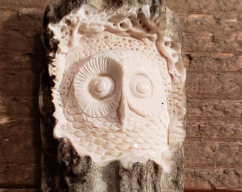 Real Deer Antler Carved Owl Pendant Necklace Tribal Stag Jewelry Rustic Hunting Nature Wild (N243)
