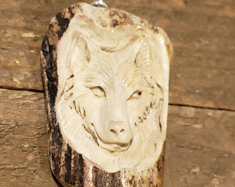 Real Deer Antler Carved Wolf Pendant Necklace Tribal Stag Jewelry Rustic Hunting Nature Wild (N314)