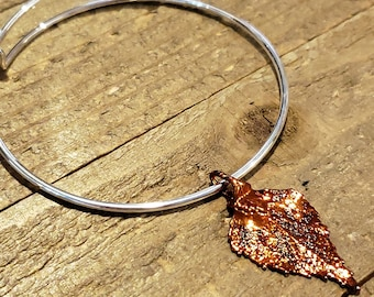 Iridescent Copper Dipped Real Birch Leaf Bracelet Charm Pendant Nature Jewelry (B88)