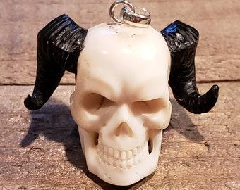 Deer Antler Carved Demon Skull Pendant Necklace Devil Stag Horn Jewelry Rustic Hunting Nature (N727)