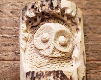 Real Deer Antler Carved Owl Pendant Necklace Tribal Stag Jewelry Rustic Hunting Nature Wild (N245)