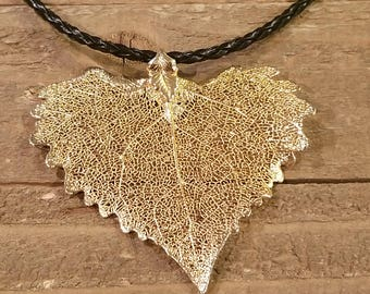24k Gold Dipped Real Cottonwood Leaf Braided Leather Necklace Pendant Outdoor Tree Plant Rustic Nature Earth Jewelry (N74)