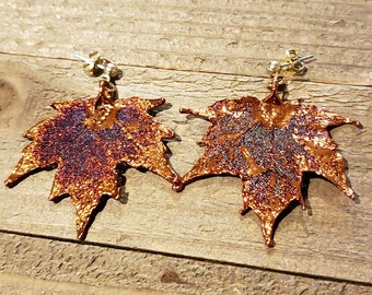 Iridescent Copper Dipped Real Maple Tree Leaf Dangle Earrings Nature Jewelry (E301)