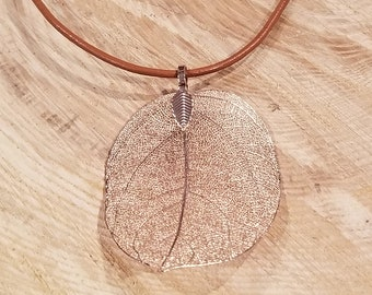 Silver Dipped Walnut Leaf Necklace Outdoor Rustic Earth Boho Nature Earth Collection (N404)