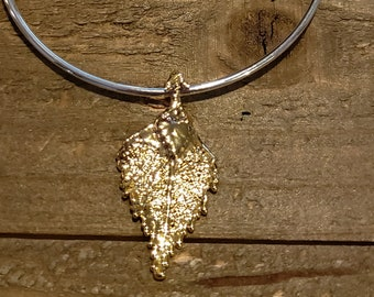 Gold Dipped Real Birch Leaf Bracelet Charm Pendant Nature Jewelry (B96)