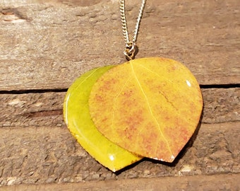 Real Double Aspen Leaf In Resin Necklace Pendant Outdoor Rustic Nature Earth Jewelry Tree Plant (N671)