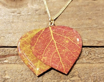 Real Double Aspen Leaf In Resin Necklace Pendant Outdoor Rustic Nature Earth Jewelry Tree Plant (N673)