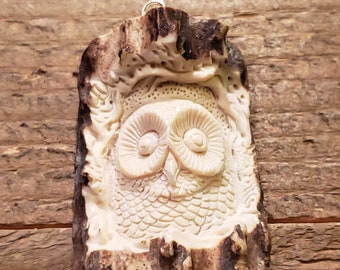 Real Deer Antler Carved Owl Pendant Necklace Tribal Stag Jewelry Rustic Hunting Nature Wild (N252)