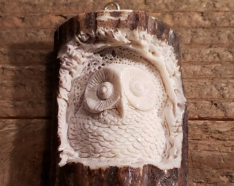 Real Deer Antler Carved Owl Pendant Necklace Tribal Stag Jewelry Rustic Hunting Nature Wild (N244)