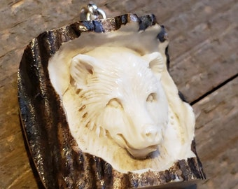 Real Deer Antler Carved Bear Pendant Necklace Tribal Stag Jewelry Rustic Hunting Nature Wild (N372)