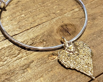 Gold Dipped Real Cottonwood Leaf Bracelet Charm Pendant Nature Jewelry (B83)
